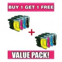 Brother LC 67 / LC 38 Value Pack (C/M/Y/K) - BUY 1 GET 1 FREE