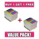 Epson T0491-T0496 Compatible Value Pack - B/C/M/Y/LC/LM - BUY 1 GET 1 FREE