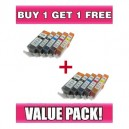 Canon PGI525 & CLI526 Compatible Value Pack with chip - BUY 1 GET 1 FREE