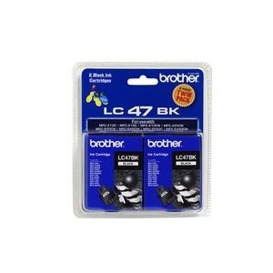 Brother Genuine LC47 Black Ink Twin Pack